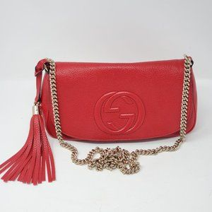 100% Auth Gucci Soho Red on Chain Crossbody Bag